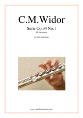 Cover icon of Suite Op.34 No.1, 4th movement sheet music for flute and piano by Charles Marie Widor, classical score, intermediate/advanced skill level