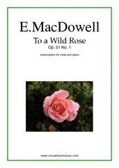 Cover icon of To a Wild Rose Op.51 No.1 sheet music for viola and piano by Edward Macdowell, classical score, easy/intermediate skill level